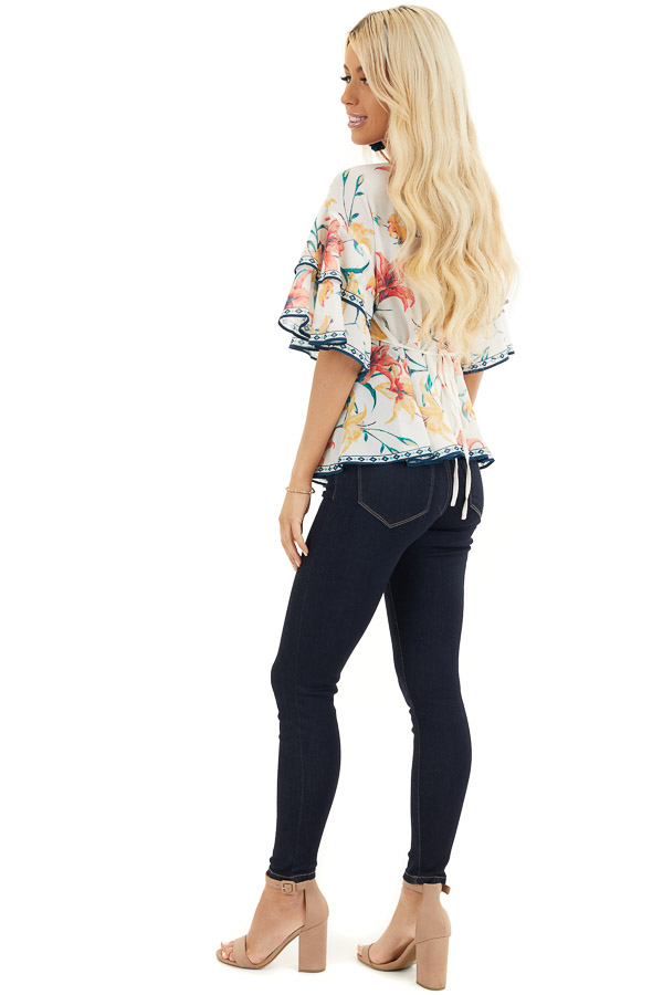 Ivory Floral Print Woven Top with Layered Bell Sleeves side full body