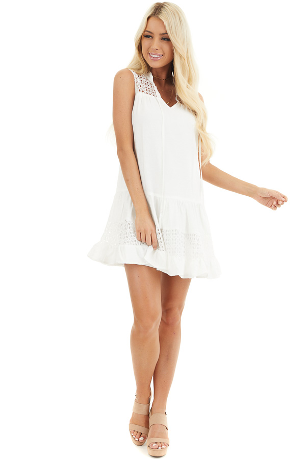 Off White Sleeveless Dress with Lace Details and Tie front full body