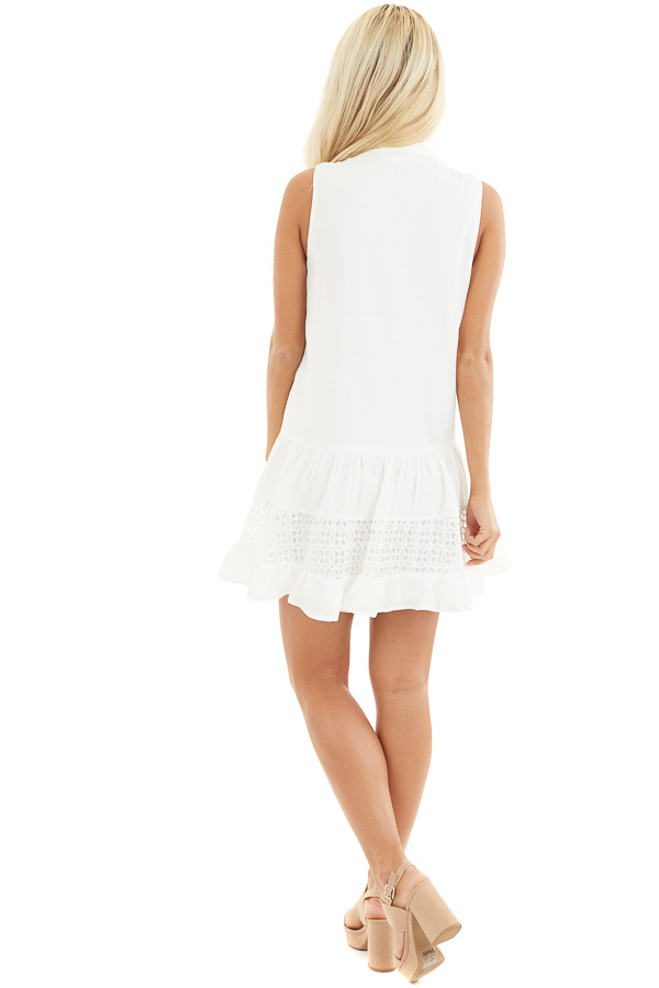 Off White Sleeveless Dress with Lace Details and Tie back full body