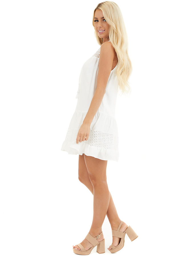 Off White Sleeveless Dress with Lace Details and Tie side full body