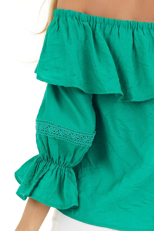 Shamrock Green Off the Shoulder Top with Ruffle Details detail