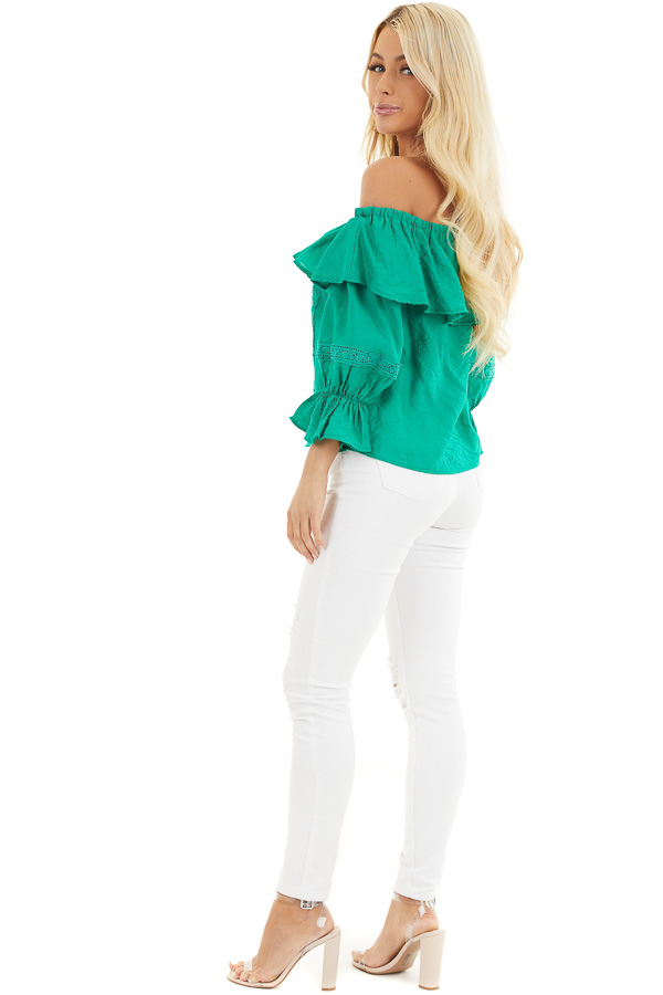 Shamrock Green Off the Shoulder Top with Ruffle Details side full body