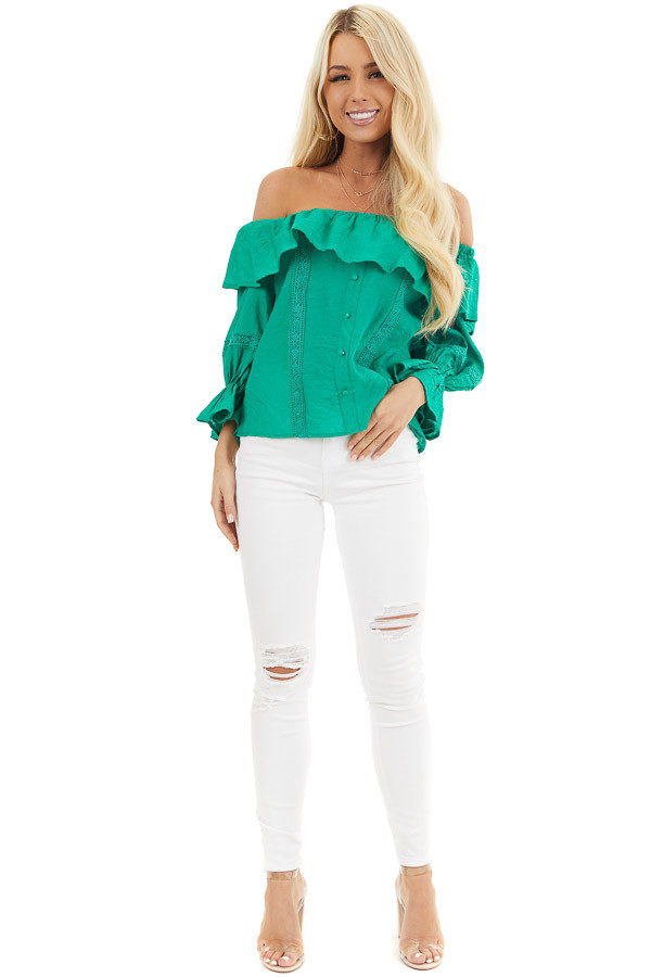 Shamrock Green Off the Shoulder Top with Ruffle Details front full body