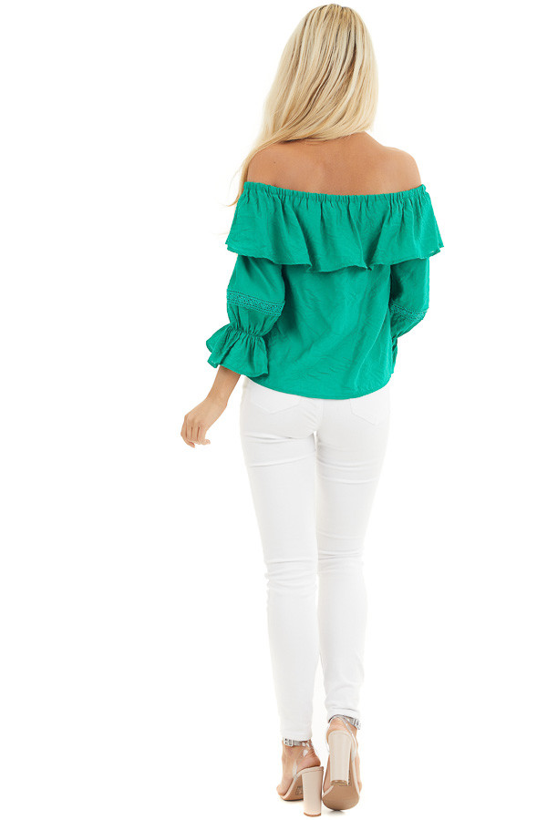Shamrock Green Off the Shoulder Top with Ruffle Details back full body