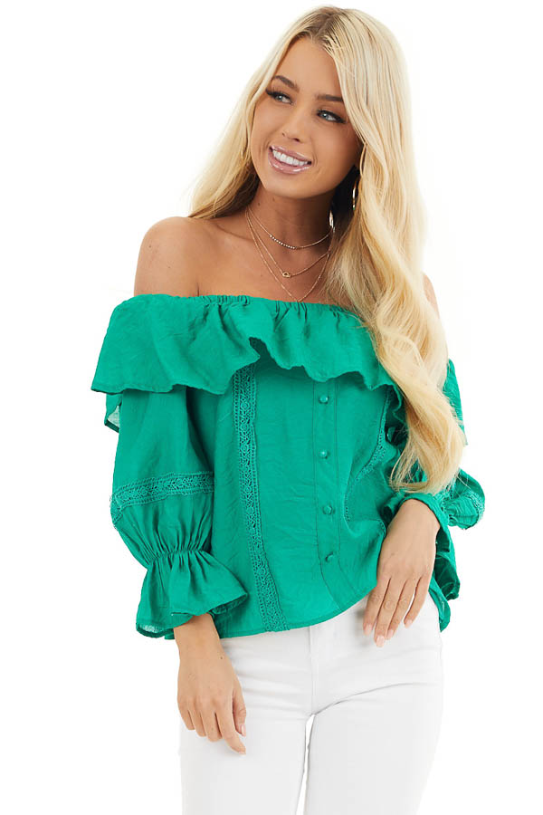 Shamrock Green Off the Shoulder Top with Ruffle Details front close up