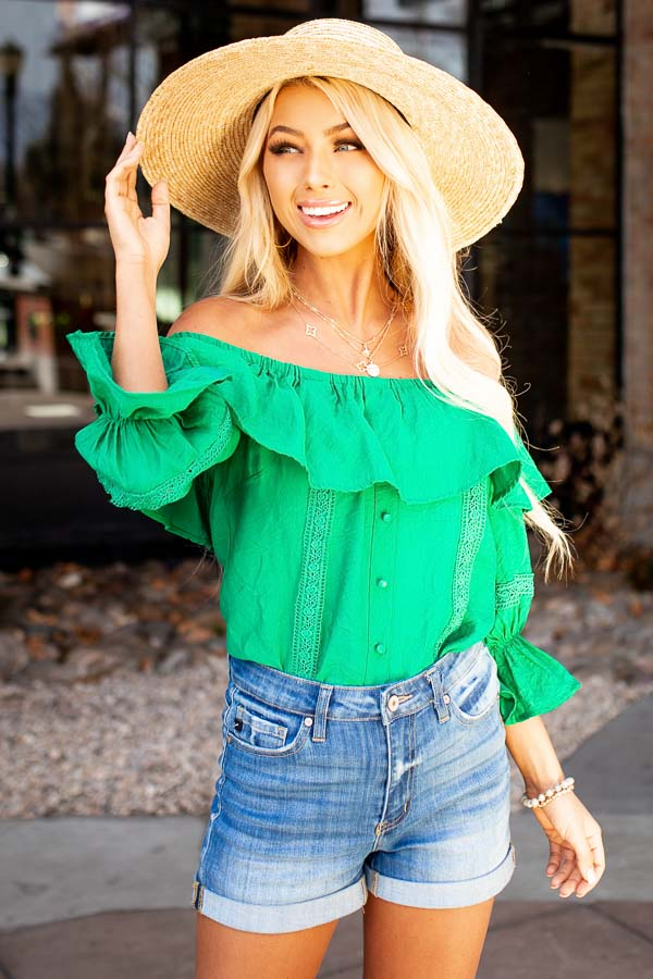 Jade Off the Shoulder Top with Ruffle Details