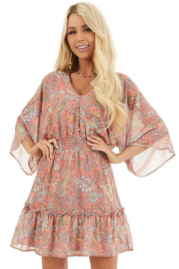 Tangerine Paisley Print Short Dress with Smocked Waistline front close up