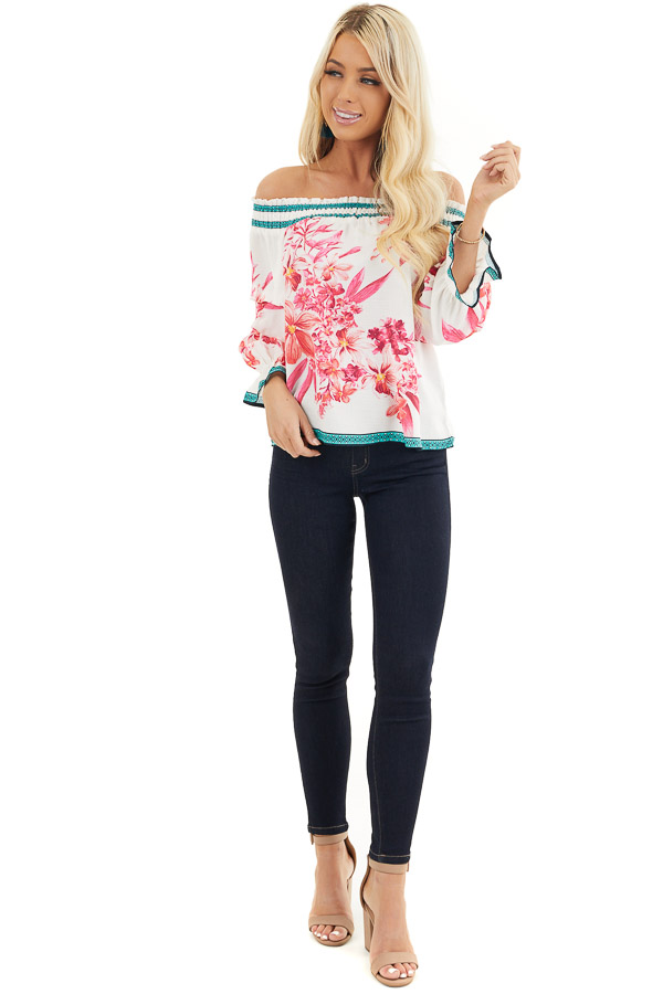 White Fuchsia and Aqua Off Shoulder Top with 3/4 Sleeves front full body