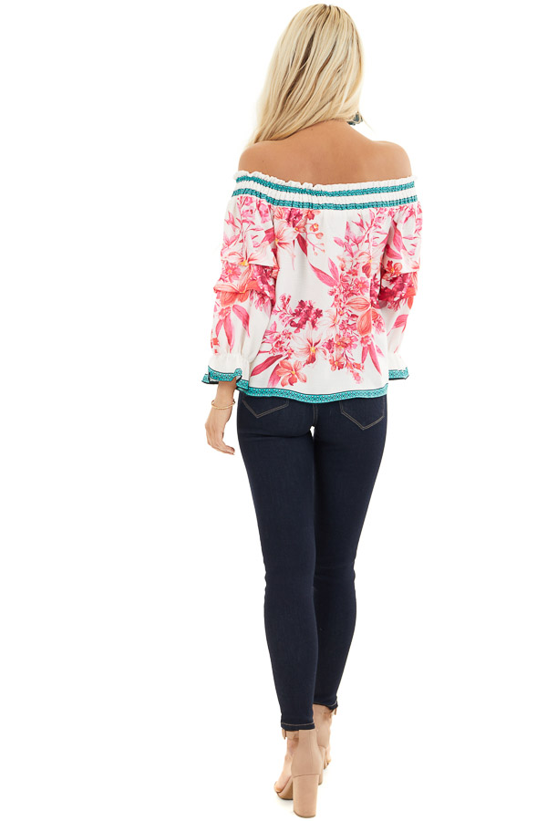 White Fuchsia and Aqua Off Shoulder Top with 3/4 Sleeves back full body