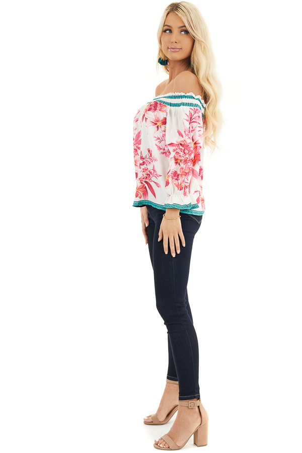 White Fuchsia and Aqua Off Shoulder Top with 3/4 Sleeves side full body