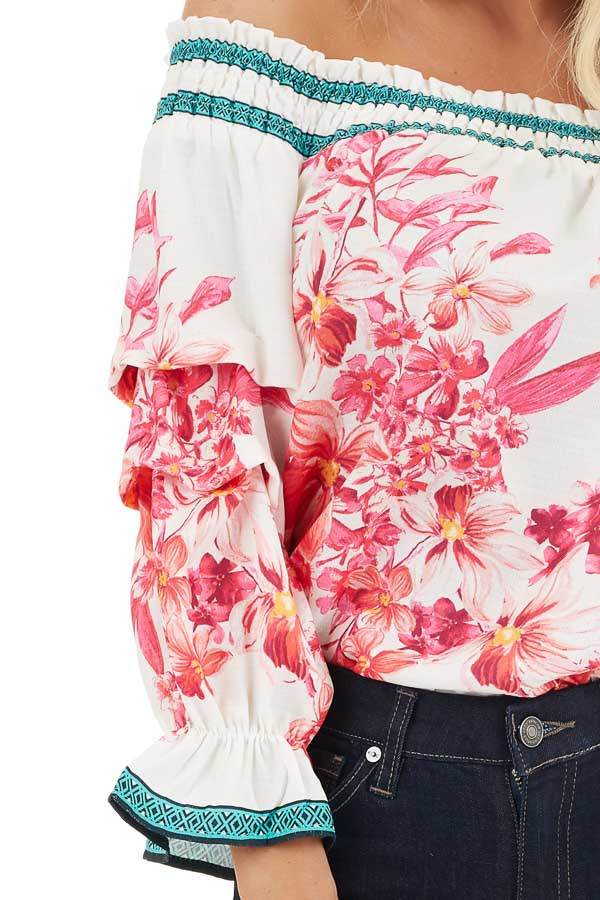 White Fuchsia and Aqua Off Shoulder Top with 3/4 Sleeves detail