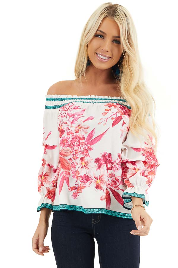 White Fuchsia and Aqua Off Shoulder Top with 3/4 Sleeves front close up