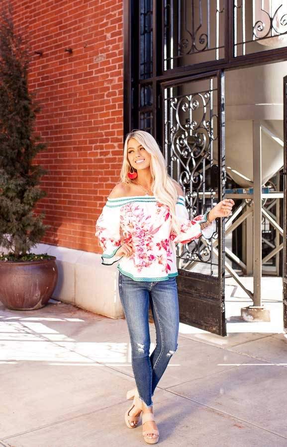 White Fuchsia and Aqua Off Shoulder Top with 3/4 Sleeves