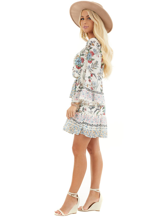 Cream Floral Print Mini Dress with 3/4 Bell Sleeves side full body