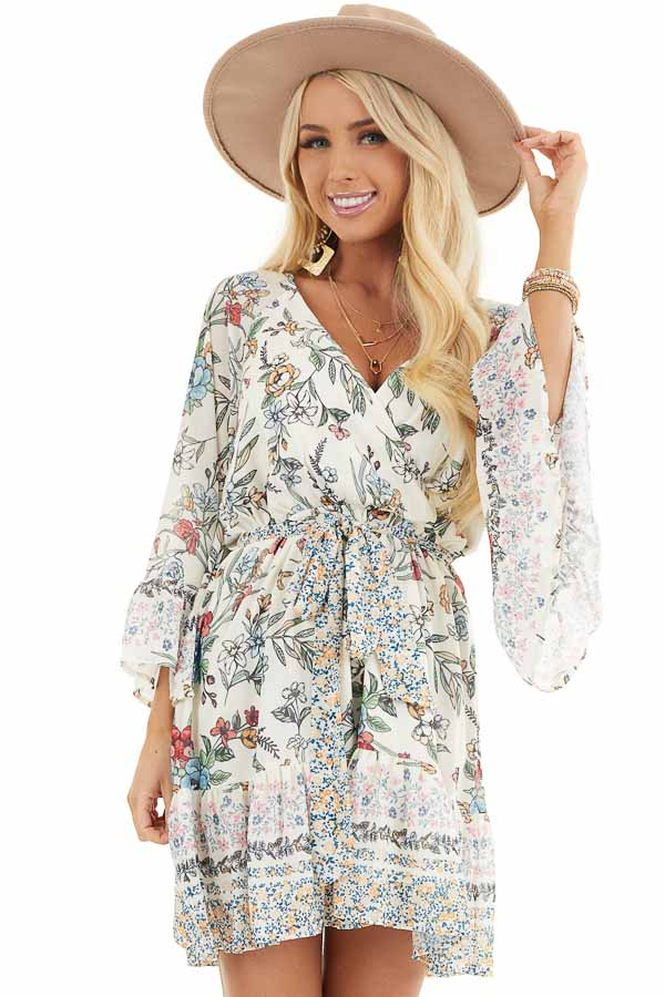 Cream Floral Print Mini Dress with 3/4 Bell Sleeves front close up