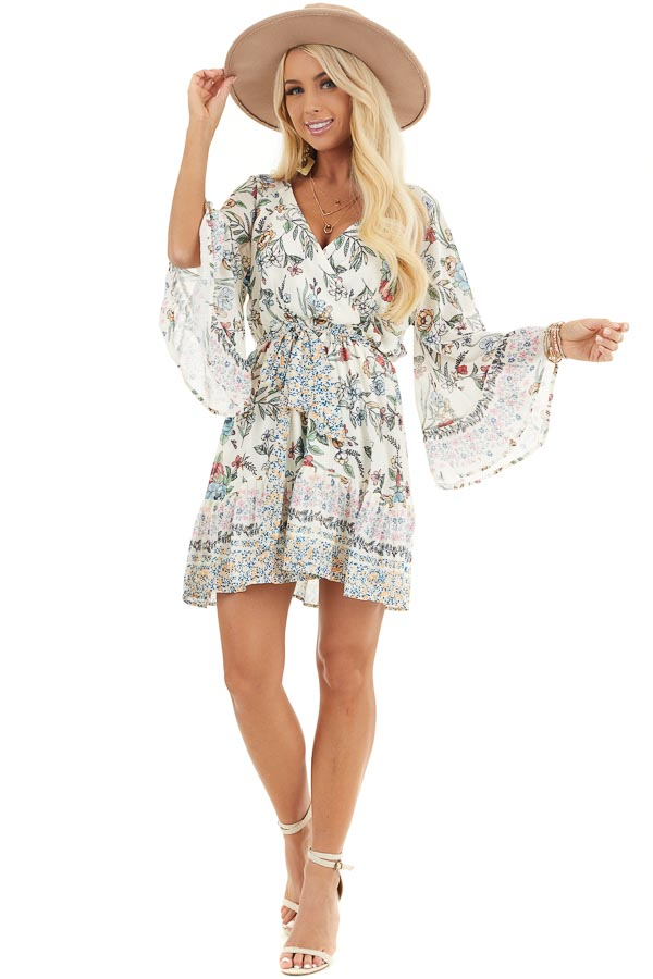 Cream Floral Print Mini Dress with 3/4 Bell Sleeves front full body