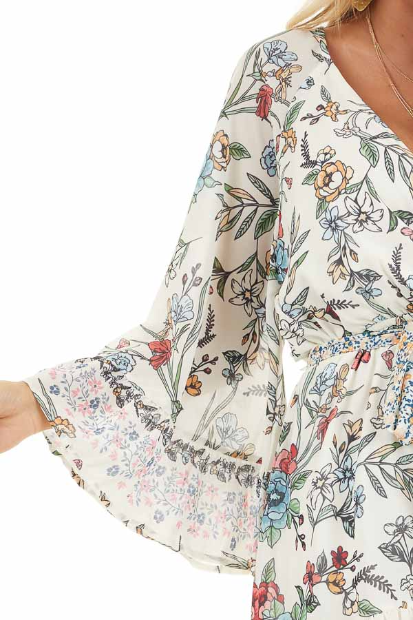 Cream Floral Print Mini Dress with 3/4 Bell Sleeves detail