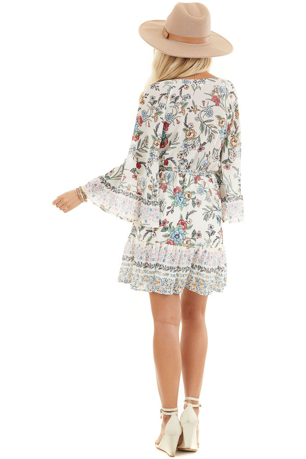 Cream Floral Print Mini Dress with 3/4 Bell Sleeves back full body