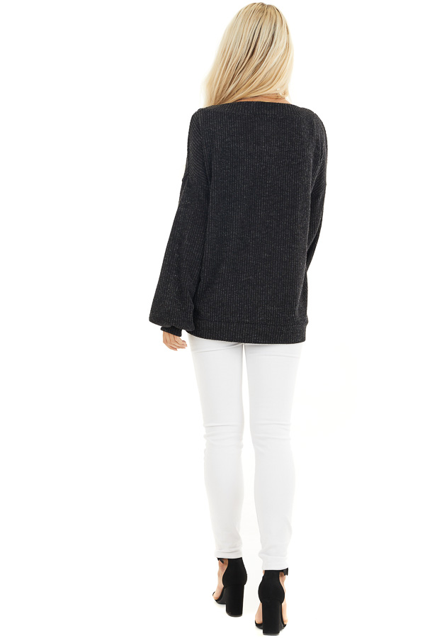 Black Textured Knit Top with Long Sleeves and V Neckline back full body