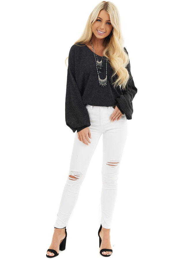 Black Textured Knit Top with Long Sleeves and V Neckline front full body