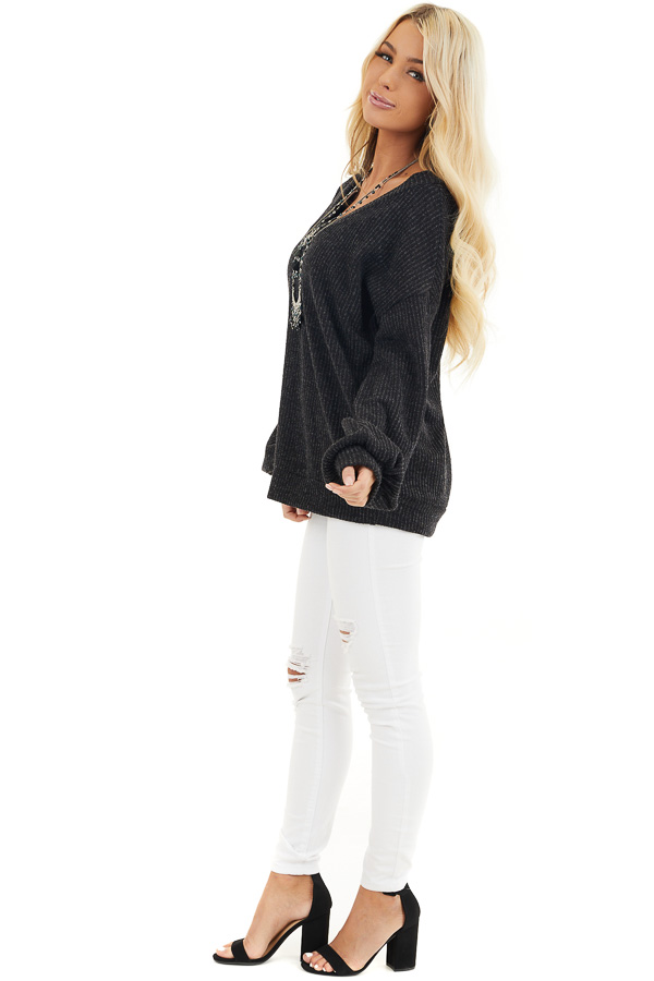 Black Textured Knit Top with Long Sleeves and V Neckline side full body