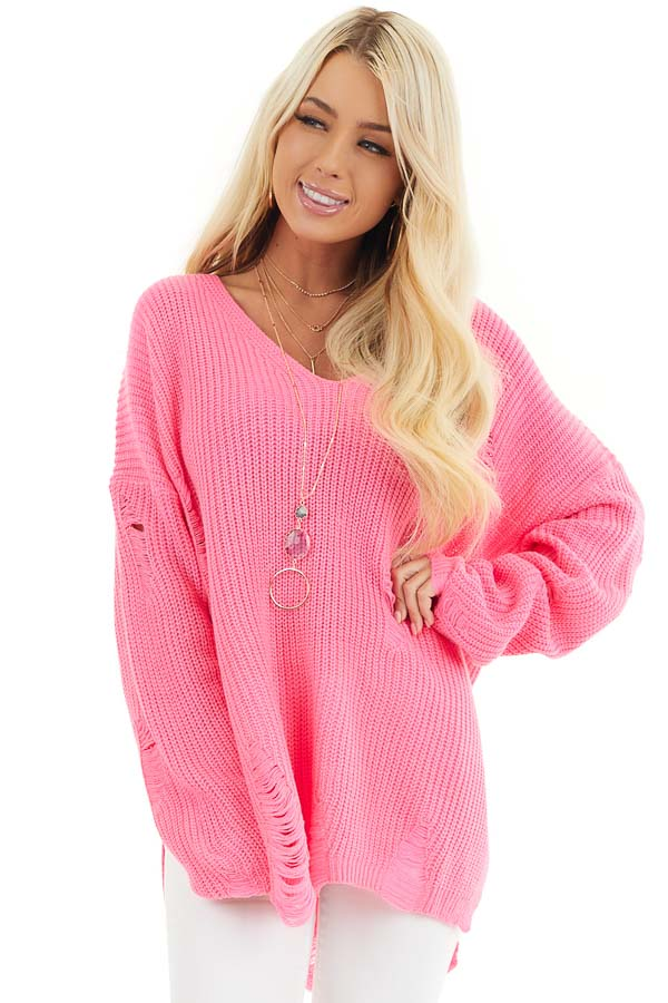Hot Pink V Neck Long Sleeve Sweater with Distressed Details front close up