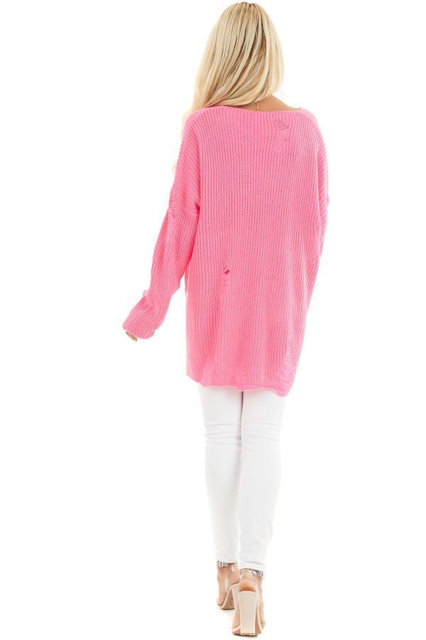 Hot Pink V Neck Long Sleeve Sweater with Distressed Details back full body