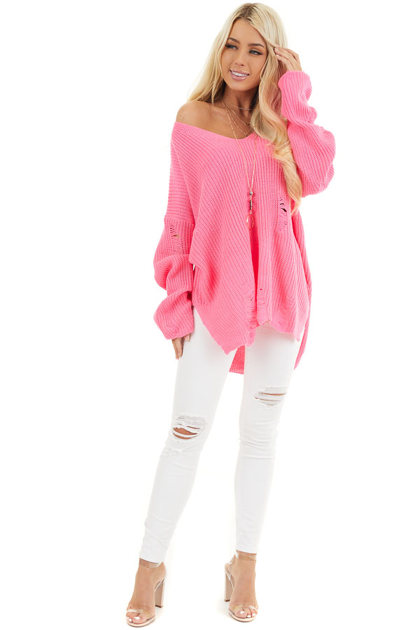 Hot Pink V Neck Long Sleeve Sweater with Distressed Details front full body