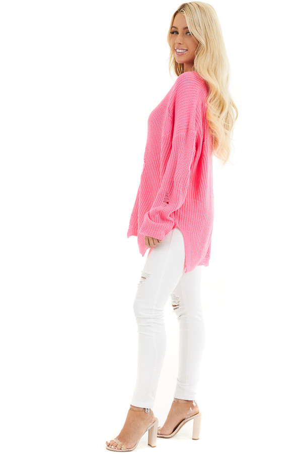 Hot Pink V Neck Long Sleeve Sweater with Distressed Details side full body