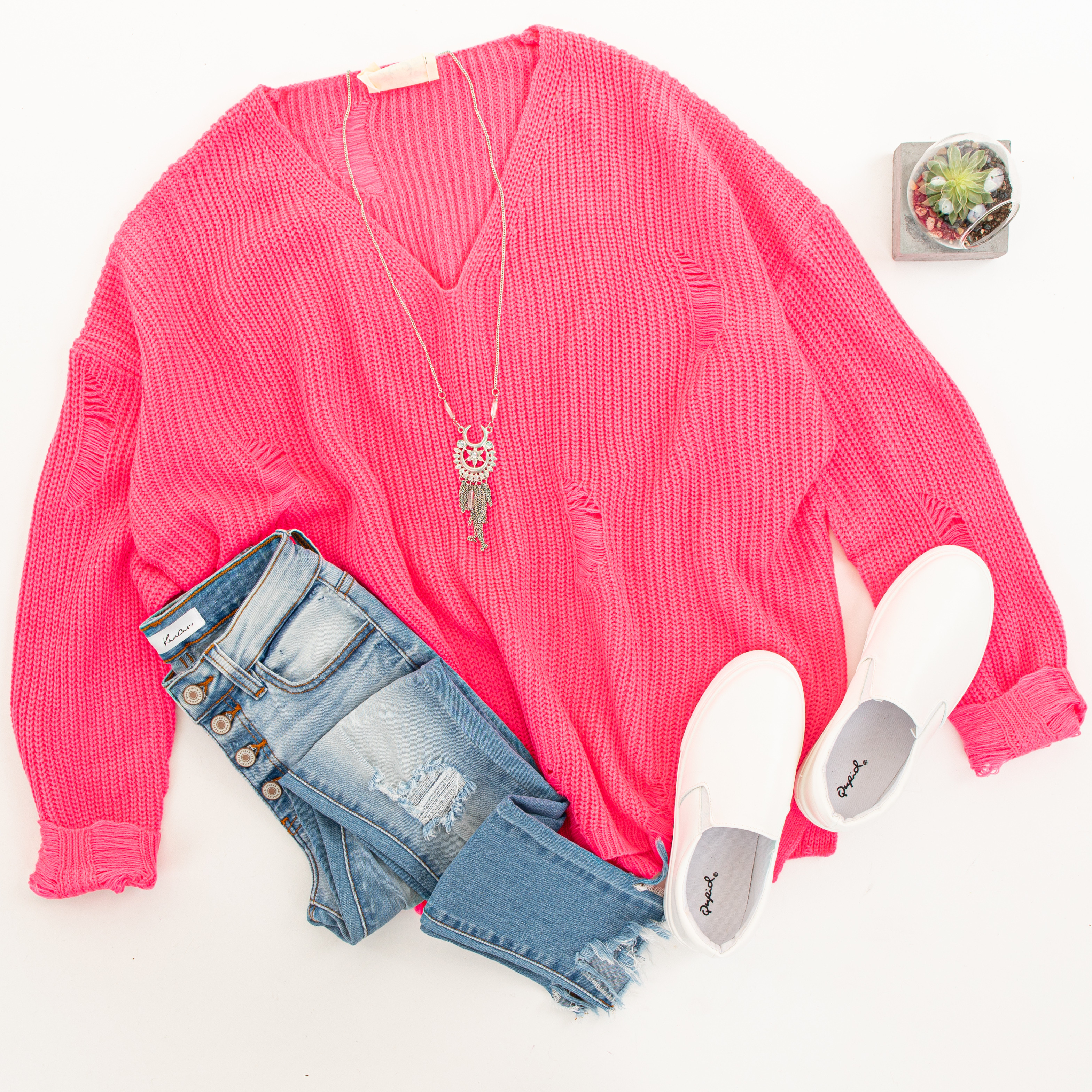 Hot Pink V Neck Long Sleeve Sweater with Distressed Details