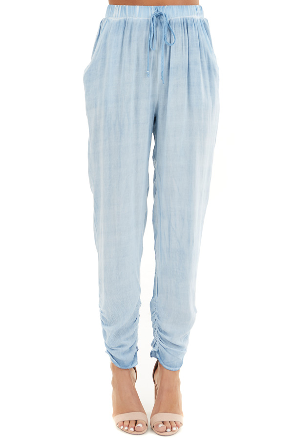 Denim Blue Mineral Wash Woven Pants with Ruched Ankles front view