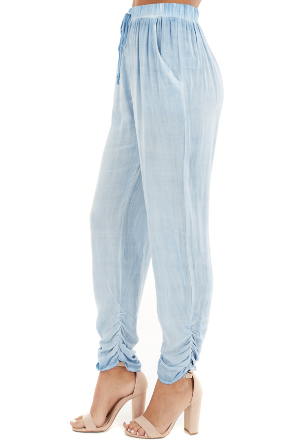 Denim Blue Mineral Wash Woven Pants with Ruched Ankles side view