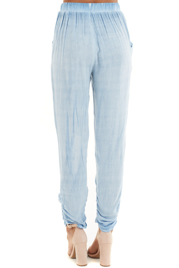 Denim Blue Mineral Wash Woven Pants with Ruched Ankles back view