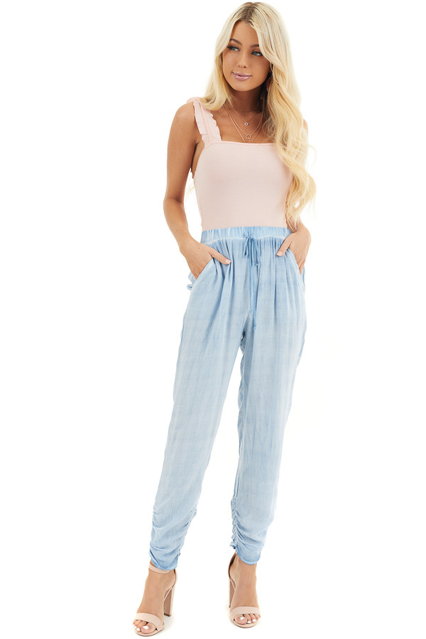 Denim Blue Mineral Wash Woven Pants with Ruched Ankles front full body