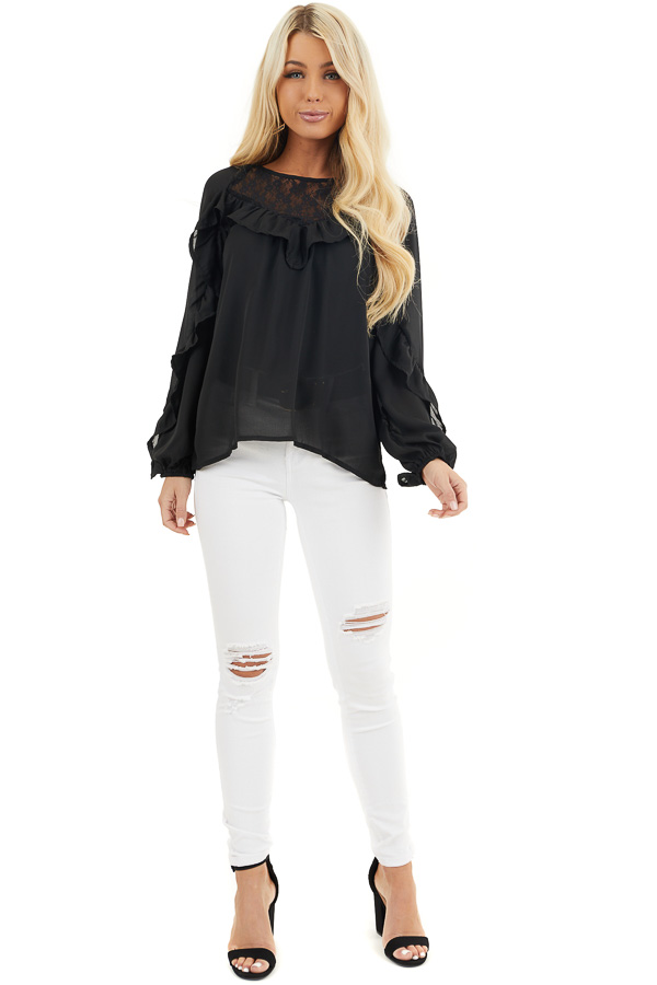Black Long Bubble Sleeve Top with Ruffle and Lace Details front full body