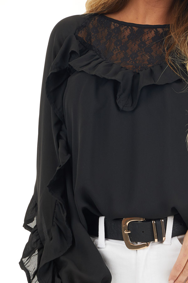 Black Long Bubble Sleeve Top with Ruffle and Lace Details detail