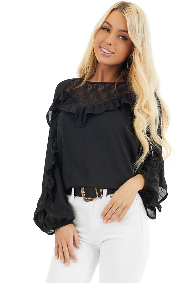 Black Long Bubble Sleeve Top with Ruffle and Lace Details front close up