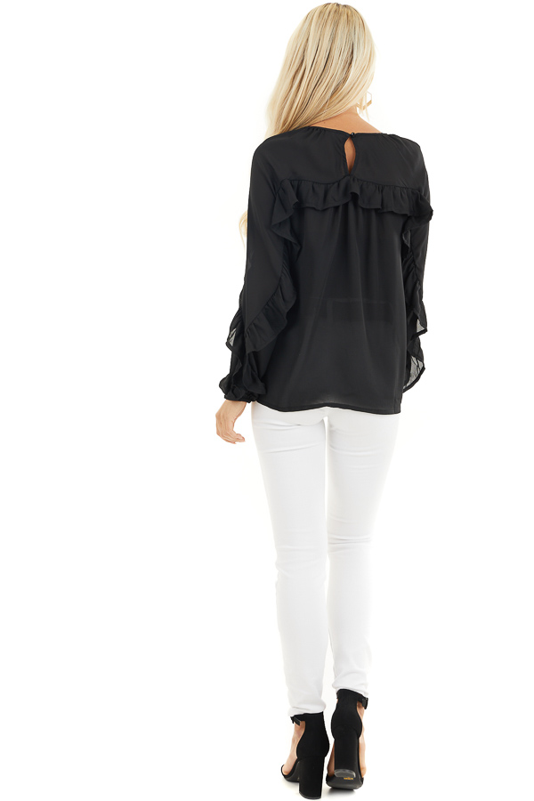 Black Long Bubble Sleeve Top with Ruffle and Lace Details back full body