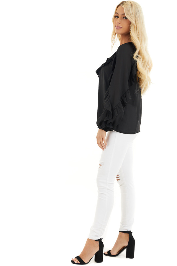 Black Long Bubble Sleeve Top with Ruffle and Lace Details side full body