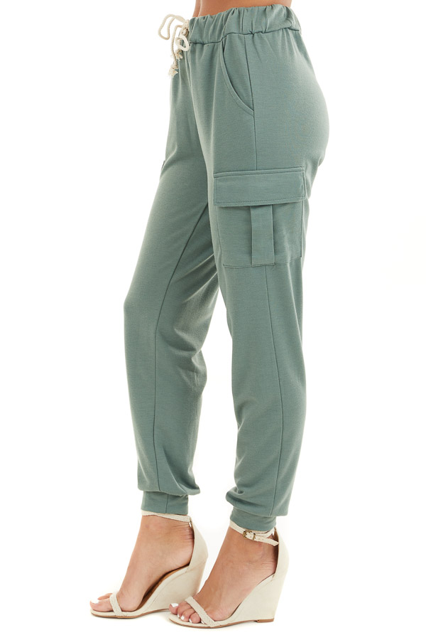 Army Green Elastic Waist Joggers with Cargo Pockets side view