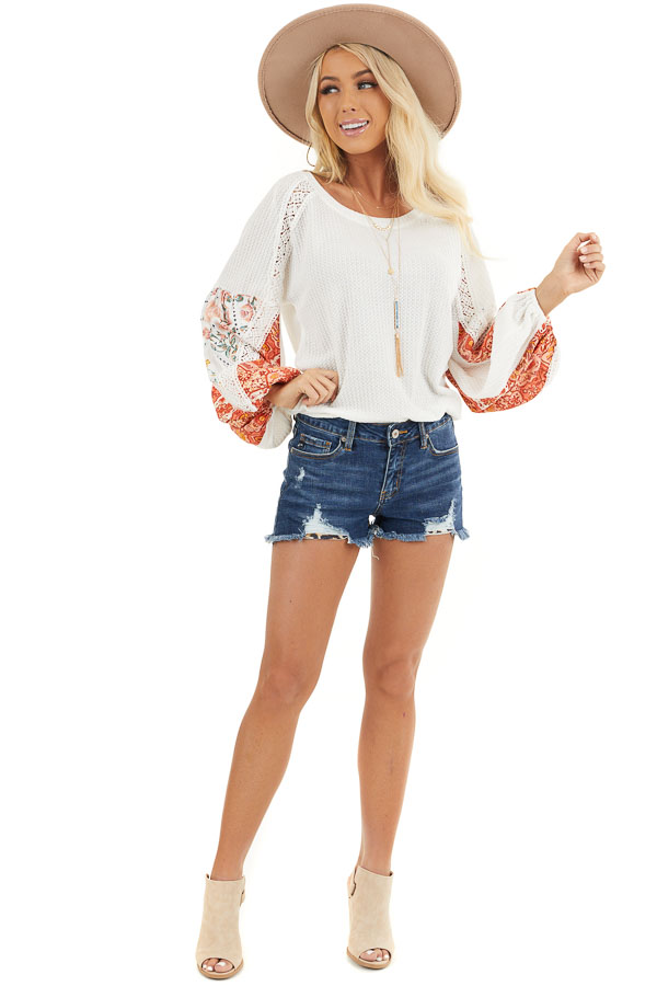 Off White Waffle Knit Top with Printed Sleeves and Lace front full body