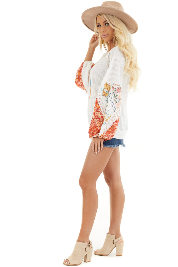 Off White Waffle Knit Top with Printed Sleeves and Lace side full body
