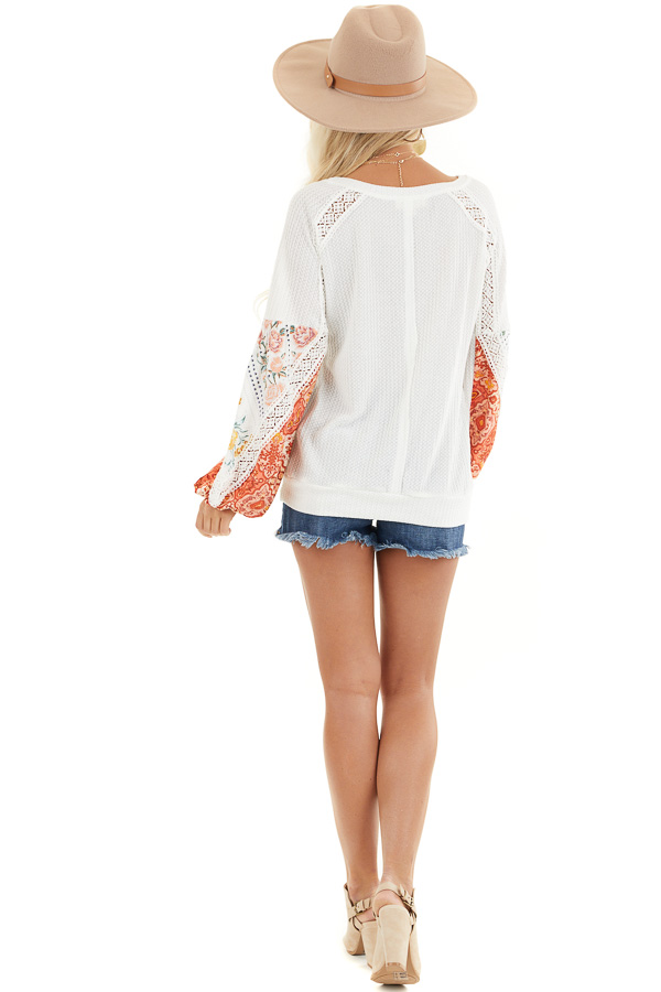Off White Waffle Knit Top with Printed Sleeves and Lace back full body