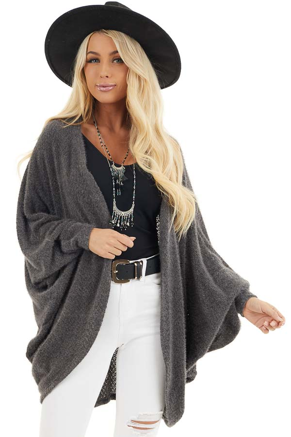 Charcoal Cocoon Cardigan with Long Dolman Sleeves front close up