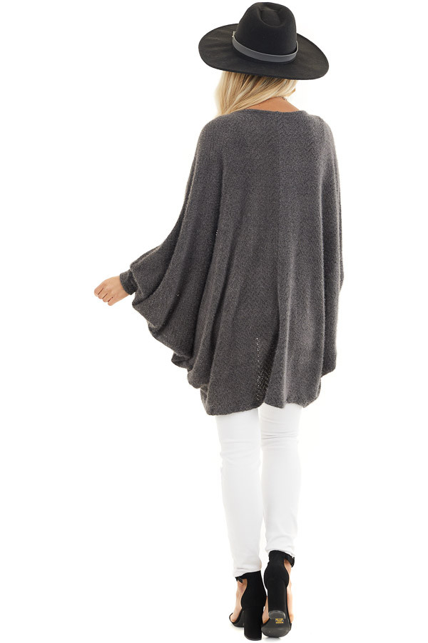Charcoal Cocoon Cardigan with Long Dolman Sleeves back full body