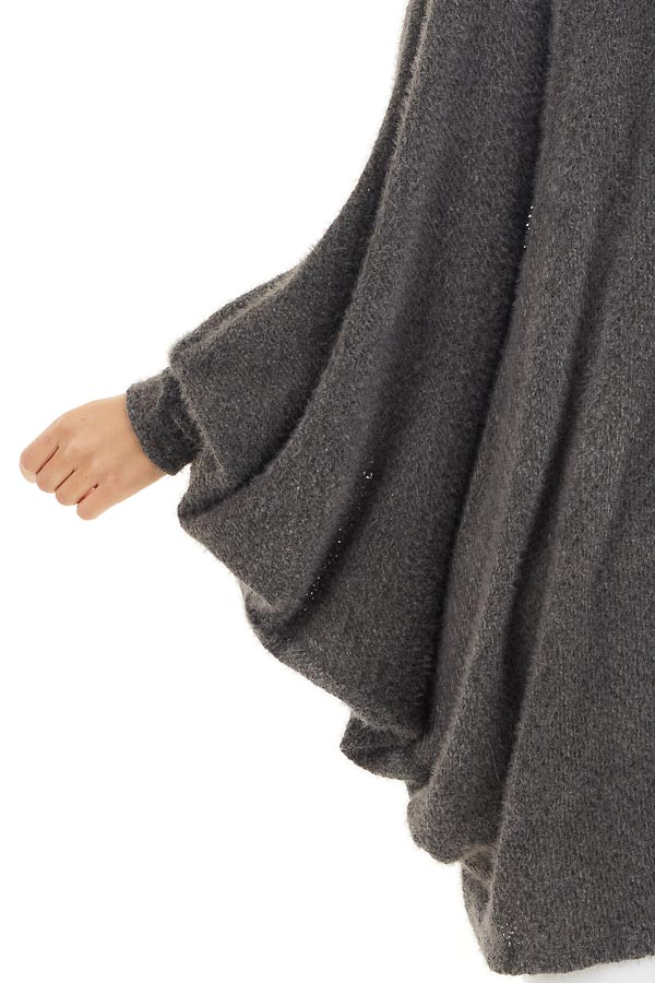 Charcoal Cocoon Cardigan with Long Dolman Sleeves detail