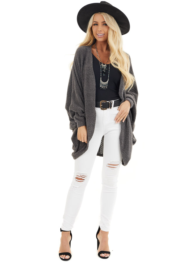 Charcoal Cocoon Cardigan with Long Dolman Sleeves front full body