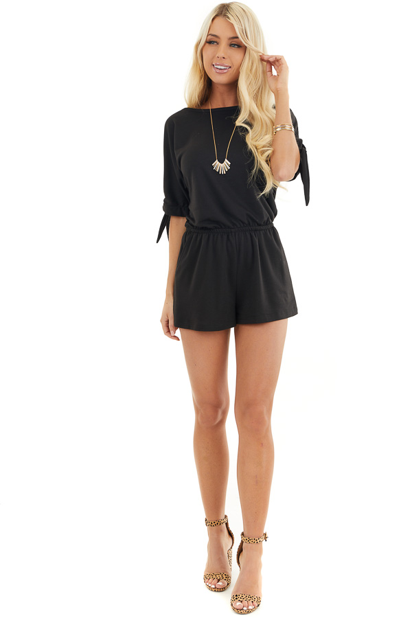 Black Short Sleeve Romper with Sleeve Ties and Pockets front full body