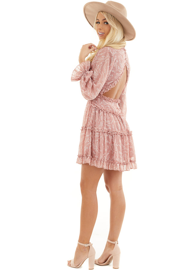 Dusty Blush Floral Dress with Tiered Skirt and Ruffle Detail side full body