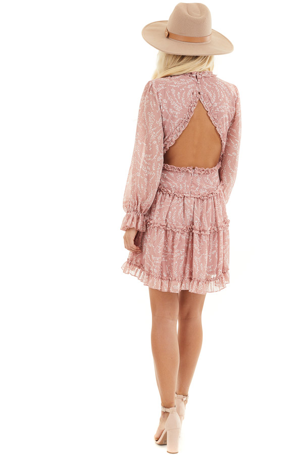 Dusty Blush Floral Dress with Tiered Skirt and Ruffle Detail back full body